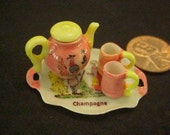 Dollhouse Miniature 1/12th scale china painted kiln fired French Quimper Tea Set Uyetake
