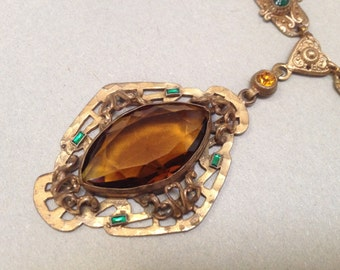 Czech Brass Faceted Topaz Glass Pendant Necklace – 1930s Jewelry