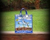 Bird Seed Tote, Recycled Feedsack, Feed Sack Bag, Blue Bird Tote, Bird Seed Bag, Feedsack Tote, Grocery Bag, Feedsack Bag, Plastic Bag