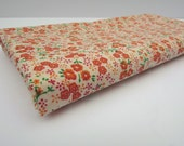 Cotton Floral Fabric, Small Print Fabric, 1 Yard 7 Inches, Orange Floral Fabric, Flowers and Leaves, Calico Material, Cotton, Green