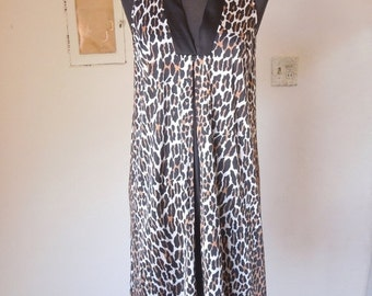 END of SUMMER SALE Vintage Leopard Nightie, Slip, by Vanity Fair, 1960's 50's Bombshell, Pin Up, Mad Men, Women's Small to Medium