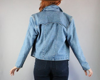 Denim Jacket, 90s Women's Southwest Fall Modern Prairie Denim Western Style Denim Jean Jacket, Size Large, FREE SHIPPING