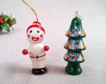 2 Small Vintage Christmas Ornaments, Snow Boy Kid and Christmas Tree Hand Painted Wood Miniature Doll Figurine Ornaments, Christmas Holiday