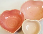 Pretty Pastel Pink Nesting Heart Bowls - Set of 3, Handmade, Shades of Pink -- 4inch Diameter - A Lovely Gift - Ready to ship - Set  #10