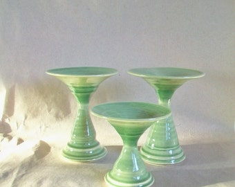 Spring Green Stoneware Pedestal Pillar Candle Holders -- Candle Holder - Candy Dish - Floating Flower Dish ------------ Now  sold separately