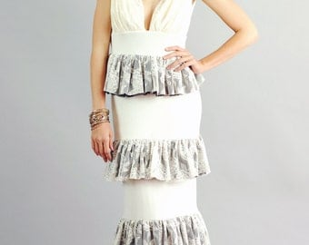 Women's Made to Order Annabel Ivory Tiered Ruffle Gown