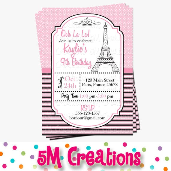 Paris Birthday Party Invitation Parisian Printable Invitation - Invitation in french to birthday party