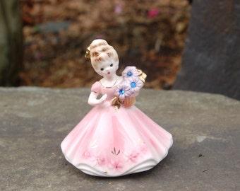 Joseph Original September Sapphire Child, Beautiful Pink Dress w/ Gold highlights & 3 Purplish Flowers w/ Blue Sapphire Rhinestone Centers