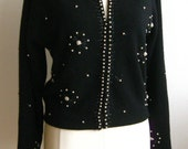 Vintage 50s Black Lambswool Blend Beaded Pin Up Girl Mad Men Cardigan Sweater