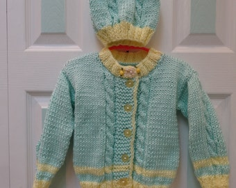 HAND KNITTED, Sweater & Hat set,Toddler 18 to 24 months,Mint Green and yellow baby yarn
