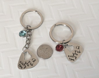 I'd Pick you every time birthstone keychain, long or short KEY ring, pick your birthstone, stocking stuffer
