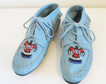 Vintage Blue Leather Moccasin Woman's Shoes / Native American Beading Fringe Detail Lace Up Tribal Shoes Size 6