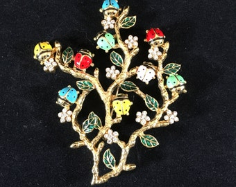 Enameled Ladybugs and Crystal Blossoms Vintage Brooch