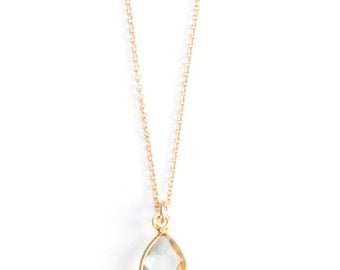 Teardrop Crystal Quartz Bezel Stone Necklace on Gold Filled Chain or Silver  - NG01
