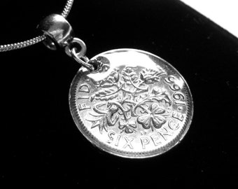 1966 Sixpence Pendant Necklace Queen Elizabeth II Coin