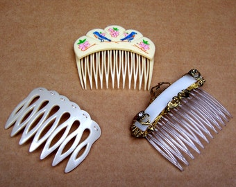 Vintage hair combs 3 celluloid hair accessories decorative comb hair jewelry hair ornament