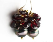 18K Gold Tahitian Black Pearl Earrings with Garnet Heart Clusters - The Ultimate Valentine's Day Present