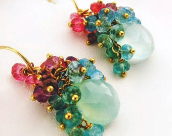 14k Gold Chalcedony Earrings with London Blue Topaz, Pink Sapphires and Amethysts
