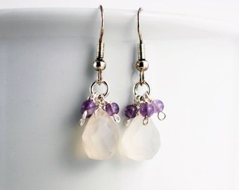 Cluster earrings with amethyst and chalcedony gemstones