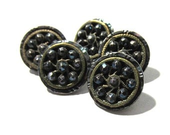 Victorian Buttons Cut Steel Mirrored Rim Blue Tint Antique Buttons Five (5) Buttons Escutcheon Costume Jewelry Sewing Supplies (F39)