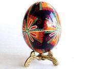 Orange pysanka on Chicken egg, hand painted batik style Ukrainian Easter egg