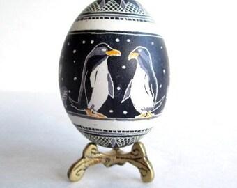 penguins Christmas pysnka, black and white egg, ukrainian easter egg