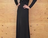 Vintage 60's Solid Black Dramatic Glamours Dress Amazing Key Hole Detail So Dramatic SZ S