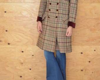 Vintage Stunning 60's Plaid Houndstooth Car Coat/ Jacket Wool With Velvet Collar Size S/M