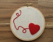 Heart String - Embroidery Hoop Art