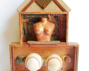Original art Box collage Baseball Woman Bust Sports art assemblage Two tiered architectural box Spring Training bottle caps Mixed media