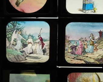 Nine Antique glass Slides Religious Biblical scenes God Jesus Angels Moses Raging Sea Tabernacle ten commandments  painted magic lanterns