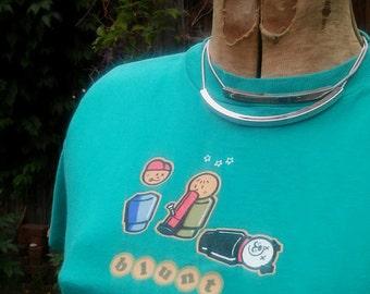 Blunt / Rude Girls - Vintage 1990s, Women's Medium, teal, retro Playmobil little people stoner graphic tee shirt,