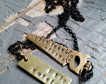 Fighting Karma - stamped metalwork guidance tag, miniture tool charm & sealed link chain necklace