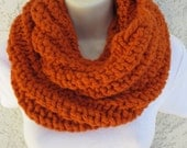 Chunky Spiral Rib Cowl in Pumpkin (Burnt Orange), Spice (Dark Burnt Orange), or Sequoia (Brown)