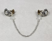 Silver Sweater Clip - Sweater Clip - Crystal and Silver Chain Sweater Clip - Collar Clip - Silver Cardigan Clip