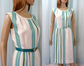 Vintage 1960s Linen Dress Cream White Blue Green Embroidery Pencil Dress / Small