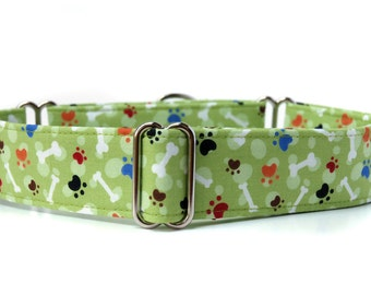 Fetch,, Colorful Dog Bones and Paws Martingale Dog Collar in 1.5 inch or 2 inch width