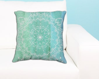 Watercolor Mandala Throw Pillow - Teal / Aque / Blue Yoga Mandala Decor Gift - Sacred Geometry Art Decor Gift - Yoga Home Accent Gift