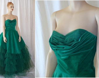 S, Vintage Prom Dress, Formal Gown, 50's Vintage Gown, Strapless Dress, Matching Jacket, Green Dress, Southern Belle, Long Dress, Tulle