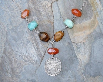 Mixed Stone Necklace, Amazonite Necklace, Tiger Eye Necklace, Carnelian Necklace, Bohemian Necklace, Statement Necklace, Natural Stone