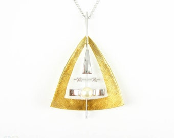 Mid Century Geometric Pendant, 18 Carat Yellow & White Gold Triangle Design Pendant with Round Brilliant Diamonds and Cultured Pearl.
