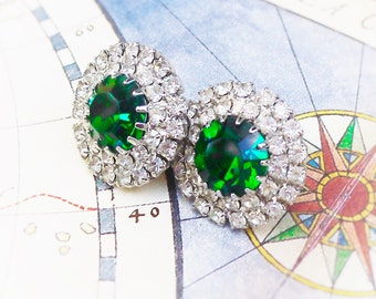 Exquisite Emeralds, Vintage Rhinestone Earrings Emerald Green Clear Sparkly Post Rhinestone Earrings from Hollywood Hillbilly