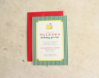 children's birthday party invitation OR adult masters viewing party - masters / golf / tee time party - digital file OR printed invitations