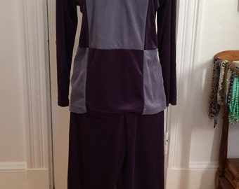 Vintage Velour Colorblock Top and Pants 1970s Purple Plum Lavender Pullover Velveteen Lounging Outfit Lounge Wear by Teddi Small Med. Petite