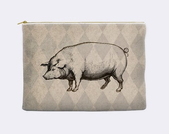 Pig pencil pouch,  hog pencil case, cosmetic bag, makeup bag, make up bag, large pencil case, zippered pouch, pencil bag, gift for him