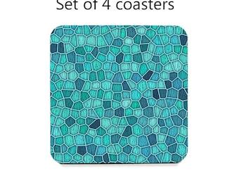 Geometric coaster set, drink coasters, set of 4, teal coasters,  wine accessories, housewarming gift, cork back coasters, designer coasters