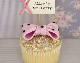Hen Party Personalised Cupcake Toppers - set of 10