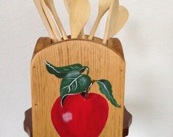 kitchen utensil holder, utensil holder, apple kitchen utensil holder, apple decor, apple kitchen decor, red apples, wooden utensil holder