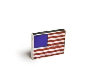 American Flag Sterling Silver Pin Brooch
