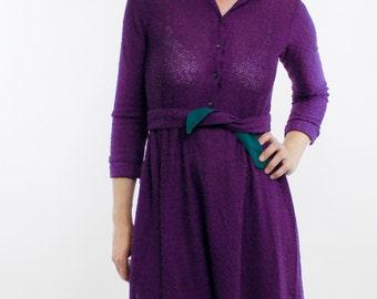 Vintage 70's Dress, textured purple material, lightweight, semi-sheer, button front, elastic waist, tie belt, S. Howard Hirsch - Small